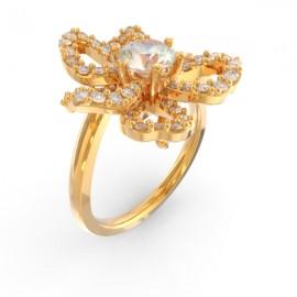Bague joaillerie Windsor fleur diamant central et 63 diamants