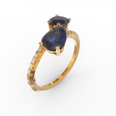 Toi & Moi ring Dubai double blue sapphire 16 dts