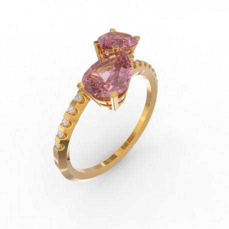 Toi & Moi ring Dubai double pink sapphire 16 dts