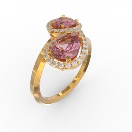 Toi & Moi ring Dubai double pink sapphire 44 dts