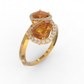 Toi & Moi ring Dubai double orange citrine 44 dts