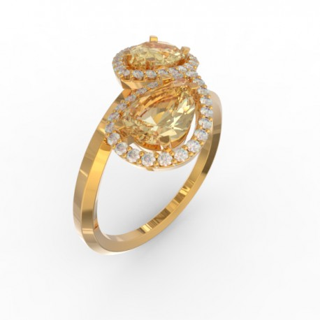 Toi & Moi ring Dubai double gold citrine 44 dts