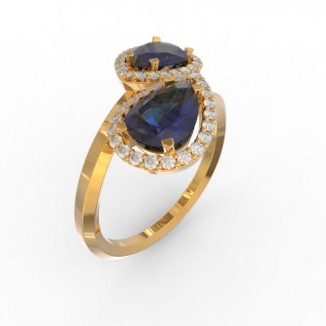 Toi & Moi ring Dubai double blue sapphire 44 dts