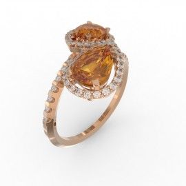 Toi & Moi ring Dubai double orange citrine 58 dts