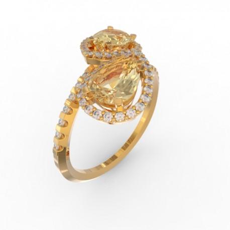 Toi & Moi ring Dubai double gold citrine 58 dts