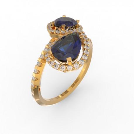 Toi & Moi ring Dubai double blue sapphire 58 dts