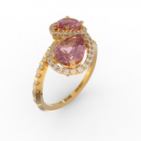 Toi & Moi ring Dubai double pink sapphire 58 dts