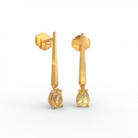 Earrings Dubai articulated gold citrine