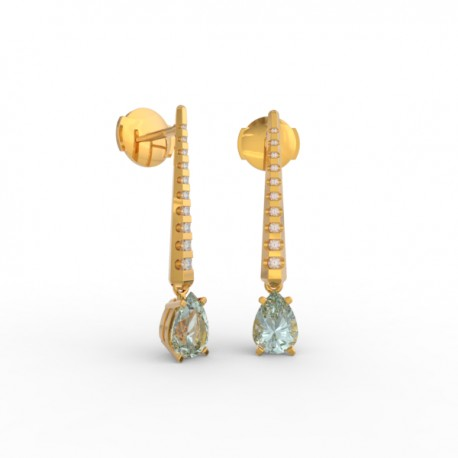 Earrings Dubai articulated aquamarine 18 dts