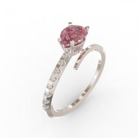 Bague Toi et Moi saphir rose 8 diamants Dubai