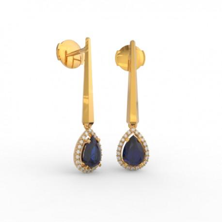 Earrings Dubai articulated blue sapphire 44 dts
