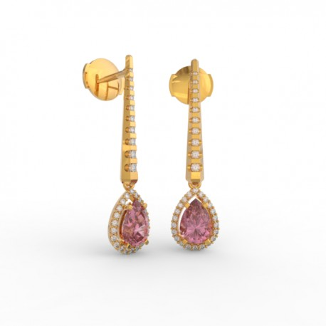 Earrings Dubai articulated pink sapphire 62 dts