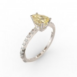 Solitaire Dubai Citrine Gold 16 diamants