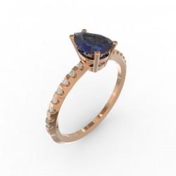 Solitaire Saphir Bleu  Dubai 16 diamants