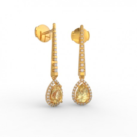 Earrings Dubai articulated gold citrine 62 dts
