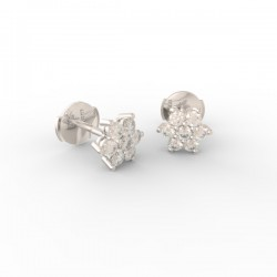 Platinum Diamond flower studs Paris collection